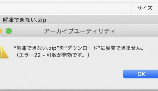 【Mac】Catalinaでzip展開エラー22引数が無効ですで失敗する場合